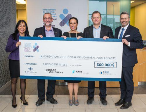 Les partenaires du projet résidentiel Square Children's remettent un don de 300 000 $ à la Fondation de l'Hôpital de Montréal pour enfants